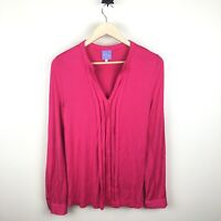 Stitch Fix Market and Spruce Women's Size Small Hot Pink Pleated Long Sleeve Top