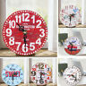 Vintage Rustic Wooden Wall Clock Antique Shabby Chic Retro Kitchen Home