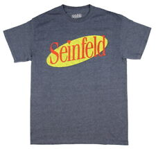 Seinfeld Shirt TV Show Distressed Logo Officially Licenced Tee Navy Mens S-XXL
