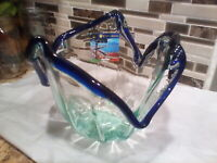 Murano Art Glass  Green  Clear Cobalt Blue Bowl Vase Centerpiece