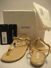 $340 NEW Dolce&Gabbana D&G Girl Kids US 12.5 Gold Flip Flops Thong Sandals Shoes