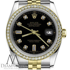 18K & SS Rolex 26mm Datejust Black Color 8+2 Diamond Accent Dial Ladies Watch