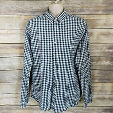 Express Size XL Button Up Shirt Green Black Checked L/S Fitted 17-17.5 Mens