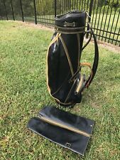 *Vintage Titleist Leather Vinyl Golf Cart Carry Bag with Rain Cover Mancave Mint