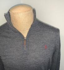 Polo Ralph Lauren 100% Merino Wool 1/4 Zip Pullover Sweater (Grey) - Mens Medium