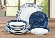 12Pc Dinner Set Plates Bowls Dinnerware Porcelain Crockery Dining Service for 4