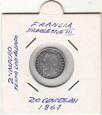 FRANCIA NAPOLEONE III 20 centesimi Argento silver 1867 BENE  +  conservato
