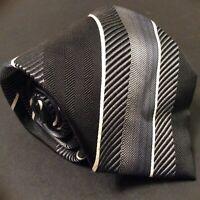 "Kenneth Cole black & silver stripe silk tie 58x4"""
