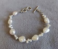 Natural White Baroque & Seed Pearl Sterling Silver Toggle Bracelet~Well Made