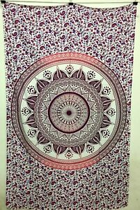 Mandala Design Tapestry Twin Size Cotton Handmade Wall Hanging Bedspread Indian