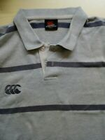 Mens Canterbury Striped Cotton Short Sleeve Polo Shirt Size Large L