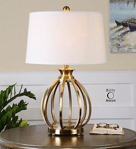 Brass Cage Metal Table Lamp | Open Modern Gourd Gold