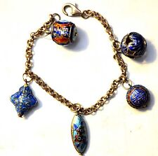 Antique Chinese Sterling Silver Enamel Beads Charms Bracelet