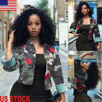 Fashion Women Lady Camouflage Military Army Short Shirt Jacket Outwear Coat Tops