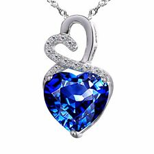 4.0ct Heart Shaped 10mm Created Blue Sapphire Pendant Sterling Silver W/ Chain
