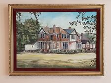 "Large Vintage Oil Painting On Canvas "" House "" Signed By K. Skinner - 1974"