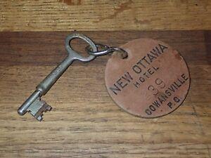 Antique Skeleton Key w/ Leather Fob New Ottawa Hotel Cowansville P.Q. Room 239