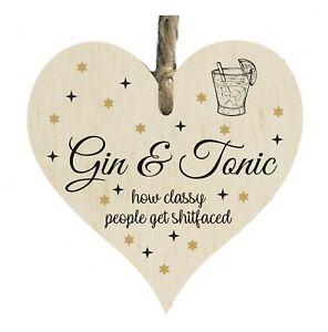 Gin & Tonic Alcohol Funny Quote Wooden Novelty Plaque Sign Gift htc24