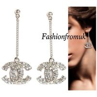 CHANEL Classic Silver Large Crystal CC Long Earrings New