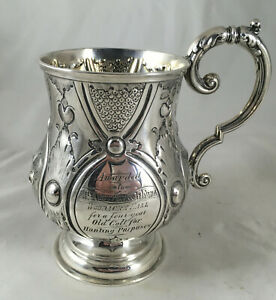 Victorian Chased Silver Christening Mug George Unite Birmingham 1866 169g AEEZX