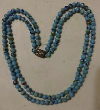 Antique Art Deco 2 Strand Blue Speckled Glass Bead Necklace Sterling Clasp