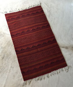 Hand Woven Zapotec Oaxaca Wool Mexico; 39 x 22 Red Artisan Rug Wall Tapestry