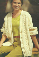 Ladies Knitting Pattern Aran Cable Long-line Cardigan small, medium, large  609