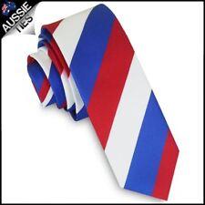 Mens Red, White & Blue Stripes Skinny Tie