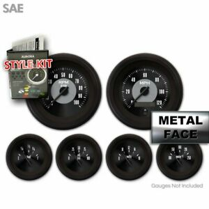Gauge Face Set SAE Classic Retro Black V Custom Gauge Face W/ Black Trim Rings