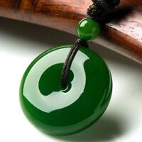 Very Beautiful Chinese Natural Green Jade HeTian Jade Lucky Buckle 平安扣 Pendant