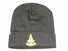Masonic Past Master Stocking Hat Knit Cap Black Embroidered Warm Winter NEW!