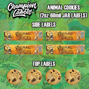 Animal Cookies Glass Jar Lid and Side Label Sticker 2 oz - 60 mil - FREE SHIP
