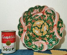 Aoki Jinichiro japanese dragon pottery plate porcelain green vtg painting art