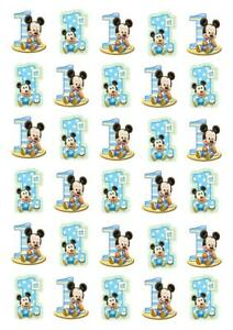 30 1st Birthday Boy Mickey Stand Up Cupcake Cake Toppers Edible Rice Wafer Paper