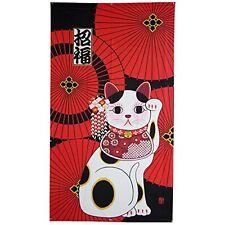 JAPANESE Noren Curtain MANEKINEKO lucky cat and BANGASA umbrella 85 x150 cm