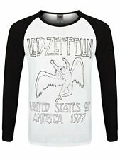Led Zeppelin USA 77 Men's Black and White Long Sleeve Baseball Raglan T-Shirt