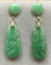 Antique Chinese Carved Jade 14K Gold Hook Earrings