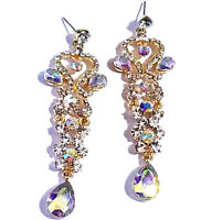 Rhinestone Chandelier Earrings Bridal Prom Pageant Crystal 3.3 in AB Drag Queen