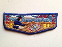 ASHIE OA LODGE 436 SCOUT PATCH SERVICE FLAP BLUE BORDER LIGHT MOUNTAINS