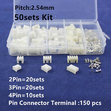 50 Kit 2p 3p 4 pin 2.54mm Pitch Terminal Housing Pin Header Connector Wire XH-2P