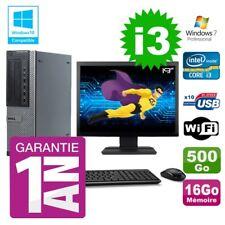 """PC Dell 790 DT Intel I3-2120 16Go Disque 500Go Graveur Wifi W7 Ecran 19"""""""