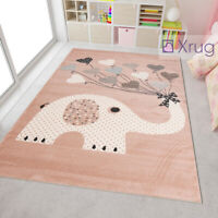 Elephant Nursery Rug Modern Kids Room Pink Mat Childrens Animal Baby Girl Carpet