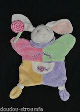 Doudou Marionnette Lapin BABY'NAT Les Bonbons Rose Vert Jaune Mauve Poche TTBE