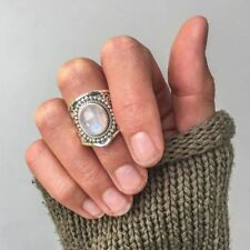 Jewelry Women Rainbow Moonstone Black Agate Natural Gemstone Rings Turquoise