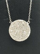 Sterling Silver 925 Elegant Round Circle CZ Cluster Collar Charm Necklace