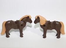 Playmobil 2  Dark Brown Small Ponies - Horses