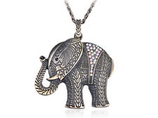 Gift Gold Tone Color Crystal Rhinestone Zoo Elephant Pendant Necklace Wedding