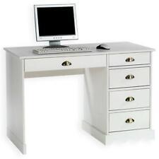 Bureau avec rangement 5 tiroirs et poignées coquille, en pin massif lasuré blanc