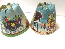 Lot 3 1936 Whirl Glo Candle Top Paper Spinners Two Blue Men On Camels Horses