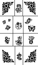 Armour RUB ' N ' ETCH GLASS ETCHING STENCIL Sheet ~ Miniatures Butterfly Flower